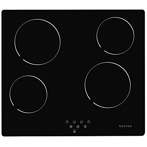 41RmJOhg9TL. SS500  - NOXTON Ceramic Hob, Built-in 4 Zone Electric Hobs 60cm Black Glass Panel Cooker with Touch Controls [Energy Class A+]