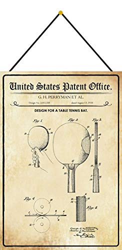FS Patent Design per una racchetta da ping pong Targa in metallo bombato 20 x 30 cm con cordoncino