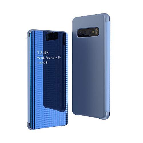 CrazyLemon Hülle für Samsung Galaxy S10, Dünn Leicht Flip Sichtbar Spiegel Schutzhülle PU Leder + Mikrofaser PC Hybrid Stoßfest Handyhülle - Blau