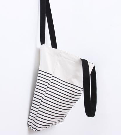 FashionBoutique Heavy Duty Double Layer Cotton Canvas Reusable Shopping Tote Bag or daily use bag with beautiful pattern and Inner Pocket (Black(Stripe) - Zip closure)
