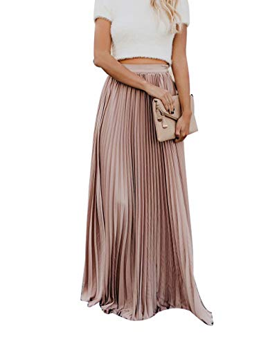 Frecoccialo Jupe Longue Gitane Imprimé Floraux Jupe Boheme en Mousseline Taille Elastique(Rose L)