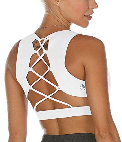 icyzone Strappy Sports Bra for Women - Sexy Gym Workout Yoga Bra with Removable Cups (S, Off White)