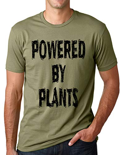 Think Out Loud Apparel Powered by Plants Funny Vegetarian T Shirt Vegan Humor tee Olive Large