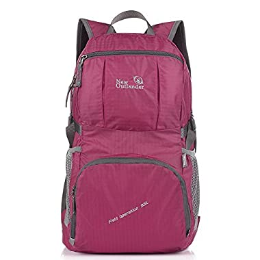 LARGE35L! Outlander Packable Lightweight Travel Hiking Backpack Daypack (New Fuschia)