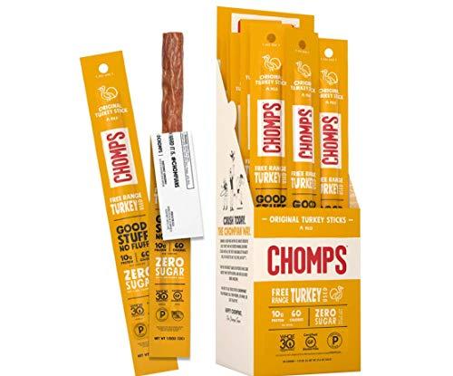Chomps Free Range Jerky Snack Sticks Keto Paleo Whole30 Approved Gluten Free Sugar Free 60 Calorie Snacks 1.15 Oz Meat Stick Pack of 24, Original Turkey, 27.6 Ounce