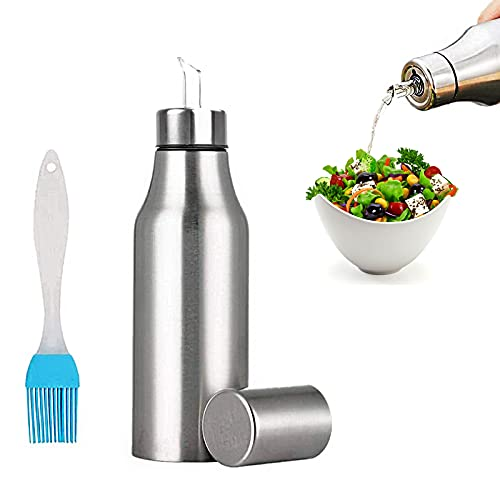 Nifogo Bottiglia di Olio - Olio e Aceto Dispenser Acciaio Inossidabile, Prova della Polvere EA Prova di Perdite con Beccuccio Oliera Bottiglia, Utensile da Cucina (750ml+Pennello Olio)
