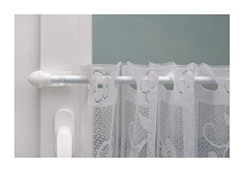 Beyond Drape klemstang gordijnroede uittrekbare klemdragers tot 20 mm zonder boren voor het ophangen van vitrage voor boven of aan de zijkant van het raam, ijzer, wit, 75-125 cm