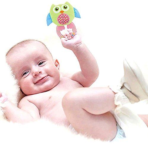 HuntGold Charmant sonnettes hochets clochette à main peluche animal jouet pour bébé hibou vert