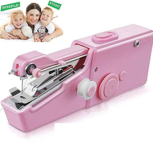 YUJISO Máquina de coser de mano para principiantes, eléctrica, portátil, para tela, uso doméstico, viaje, reparación rápida para ropa, cortinas, manualidades rosa