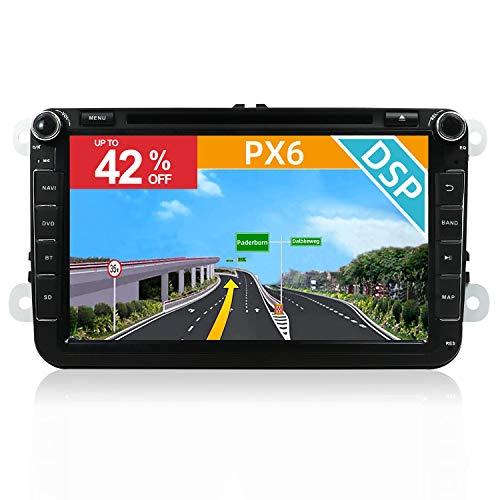 YUNTX PX6 Android 10 Autoradio Adatto per VW Golf/Skoda/Seat -Incorporato DSP - [4G+64G] - GPS 2 Din -Telecamera Posteriore Gratuiti -Supporto DAB/Bluetooth 5.0/Controllo del volante/WiFi/4G/HDMI/AHD