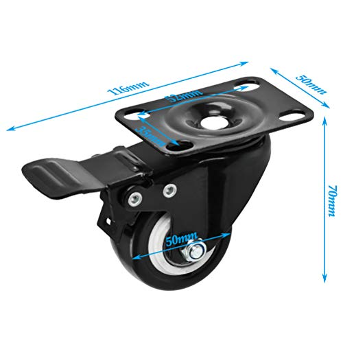FOROREH 4 Castor Wheels Heavy Duty Swivel Castors with Brake Load Capacity 240KG Trolley Furniture Caster Industrial Plate Casters