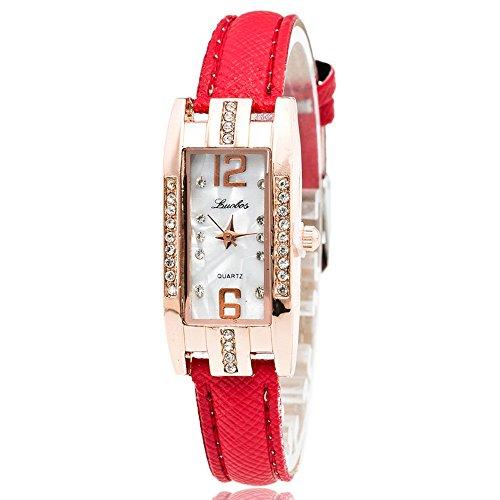 SoonerQuicker Uhr für Damen Mode lässig minimalistisch Quarz Analoguhr Uhren PU Leder Casual Armbanduhr für Damen Damenuhren Eleganz Armbanduhren