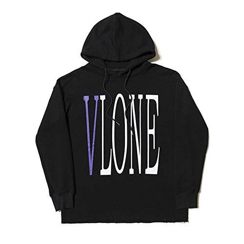 Big V Hoodie Unisex Moda Personalidad Vlone Sudaderas Hip-Hop Sudaderas Pullover para Hombres y Mujeres,Black,X-Large