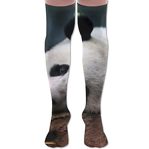 NA Lazy Zoo Panda Bamboe Voedsel Gezellige Volwassen knie Hoge Sokken