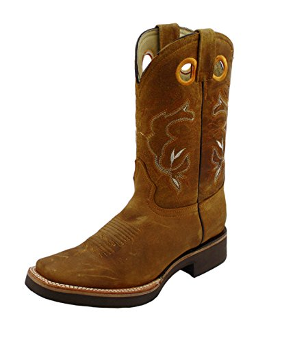 Men Cowboy Genuine Cowhide Leather Square Toe Rodeo Western Boots_Tan_9.5