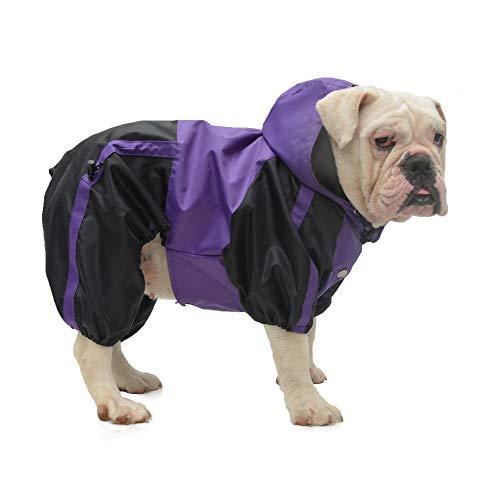 Lovelonglong American Bully Pitbull Dog Hooded Raincoat, Bulldog Rain Jacket Poncho Waterproof Clothes with Hood Breathable 4 Feet Four Legs Rain Coats for Pugs English French Bulldog Purple B-M