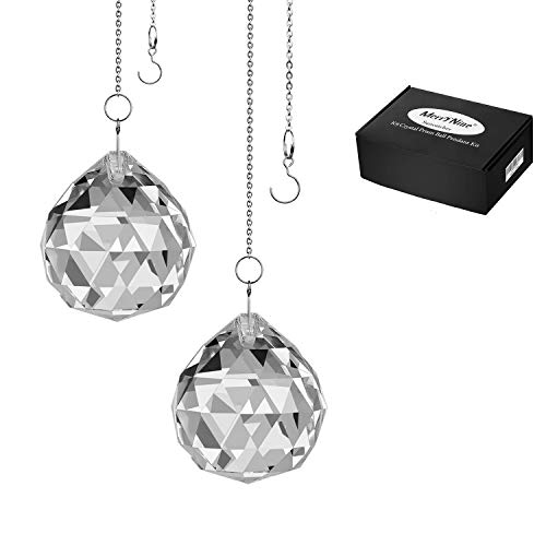 """MerryNine Clear Crystal Ball Prism Suncatcher Rainbow Pendants Maker, Hanging Crystals Prisms for Windows, for Feng Shui, for Gift(50mm/2.0"""" 2pack)"""