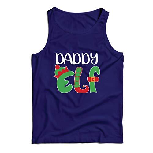 lepni.me Camisetas de Tirantes para Hombre Papá Elfo Navidad Traje Gráfico Divertido (XXX-Large Azul Multicolor)