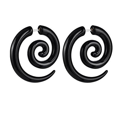 Cosanter 1Par Pendiente de Espiral Pendientes Acrilicos Pendientes Mujer Joyería de Moda Pendientes Negros