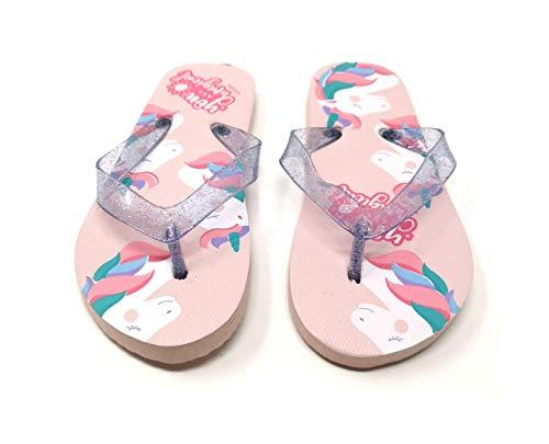 Einhorn Unicorn Eisprinzessin Kinder Zehentrenner Flip Badeschuhe Sommerschuhe Sandale Schuhe (Numeric_28)