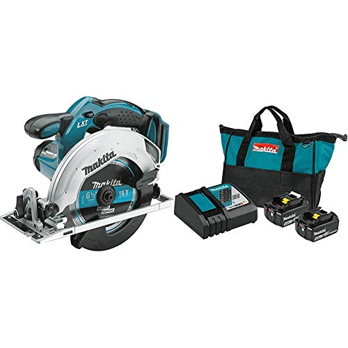 Makita XSS02Z 18-Volt LXT Lithium-Ion Cordless 6-1/2 Inch Circular Saw with BL1840BDC2 18-Volt LXT Lithium-Ion Battery and Rapid Optimum Charger Starter Pack (4.0Ah)