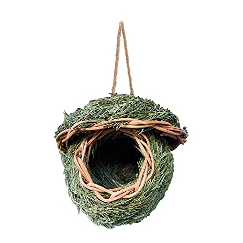 Pajarera Cuello colgando casa de pájaros casa de pájaros al aire libre tejido de paja nido de cría suministros para mascotas hechos a mano observación de aves silvestres nido de pájaros jaula de pájar