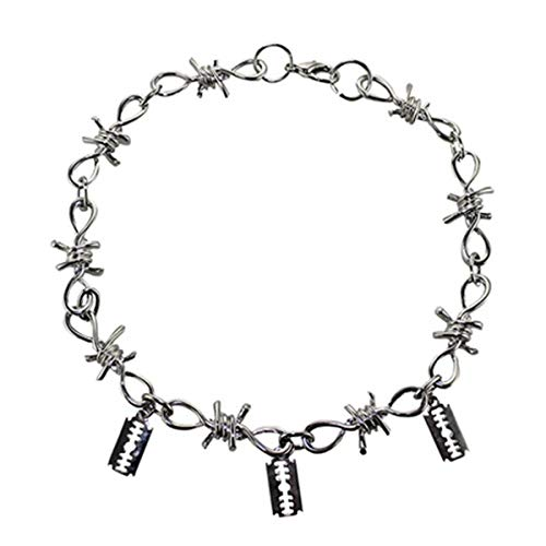 COLORFUL BLING Men's Punk Silver Barbed Wire Necklace Hip Hop Thorn Choker Rock Spur Link Chain Eboy Hip Hop Jewelry for Boys three charm