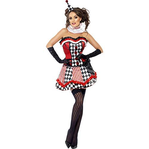 Yujeet Déguisement d'horreur Clown Femme Halloween Arlequin Cosplay Dress Robe sans Manches Adulte Femme (As Photo, Asia 2XL)