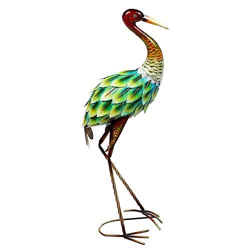 Formano Statuette décorative héron en métal, hauteur 80 ou 74 cm, vert/marron, multicolore, 1 pièce, fabriquée et peinte à la main