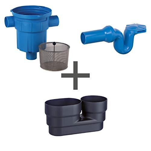 Regenwasserfilter Zisternenfilter 3P Spar-Set RVF mit Edelstahlsieb für den Einbau in die Zisterne, Anschluss DN100, Höhenversatz 0 mm. Für die Regenwassernutzung im Haus und zur Gartenbewässerung