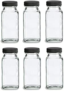 Nakpunar 6 pcs 6 oz French Square Glass Spice Jars with Shakers - Black lids and shaker insert