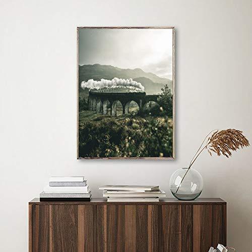 QAZEDC kunstdruk canvasdecoratie schilderij citaat verrekijker poster afdrukken Magic Train Landschap schilderij Scandinavische afbeeldingen voor woonkamer wanddecoratie kunstdruk