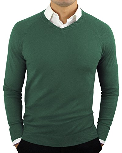 CC Perfect Slim Fit V Neck Sweaters for Men | Lightweight Breathable Mens Sweater | Soft Fitted V-Neck Pullover for Men Dark Green