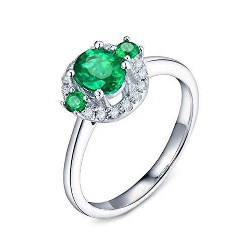 AnazoZ Anillo de Mujer con Esmeralda,Anillo Oro Blanco 18K Plata Verde Redondo con Oval Esmeralda Verde 0.65ct Diamante 0.11ct Talla 21