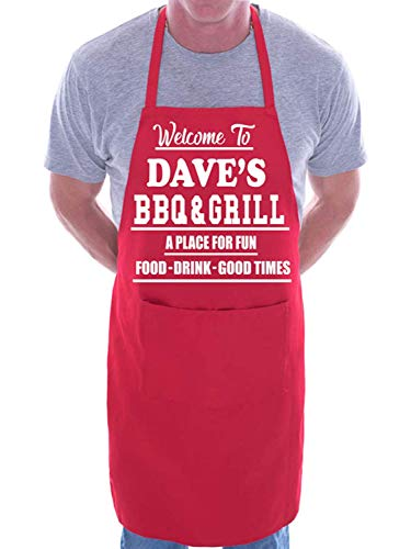 Mesllings Welcome to Dave's BBQ & Grill Kochschürze, personalisierbar