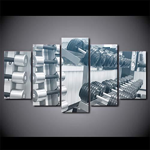GVC 30X40X60X80 Moderne Leinwand Kunst Malerei HD-Druck Wandkunst 5 Stück Bilder Fitnessgeräte Hantel Poster Home Decor Wohnzimmerrahmen