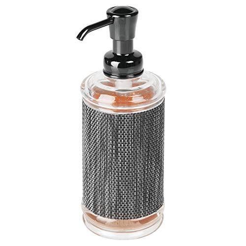mDesign Seifenspender für Bad oder Küche – großer Pumpseifenspender aus Kunststoff für 355 ml Flüssigseife – rostfreies Badzubehör – durchsichtig/grau/schwarz
