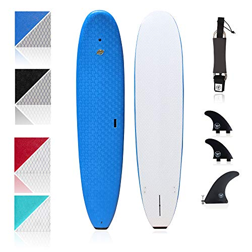 South Bay Board Co. - Premium Beginner Soft Top Surfboards - 8'8 Heritage - The Best Foam Surf Boards for Beginners, Kids, and Adults - Wax Free Soft Top Surfboards for Fun & Easy Surfing (Blue)
