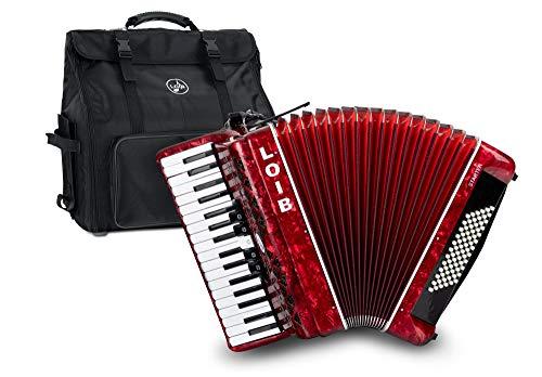 Loib Starter III 72 RD - 72 Bass Akkordeon mit 3 Chören - Inklusive Riemen, Rucksack-Tasche und Balgschoner - Schülerakkordeon mit nur 7,8 kg Gewicht - Rot