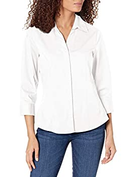 Riders by Lee Indigo Women s Plus-Size Bella Easy Care 3/4 Sleeve Woven Shirt Arctic White 2X