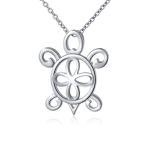 Sterling Silver Lucky Filigree Open Cross Sea Turtle Pendant Necklace for Women, 18'