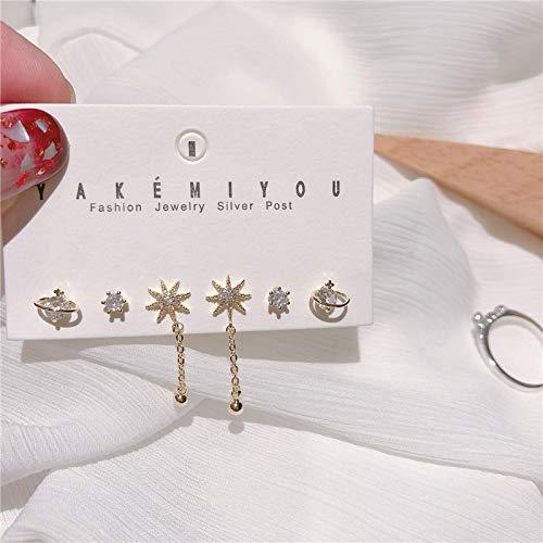 CUXIN Trendy Gold Star Planet Stud Earrings Set Crystal Earrings For Women Cute Korean Jewelry gold