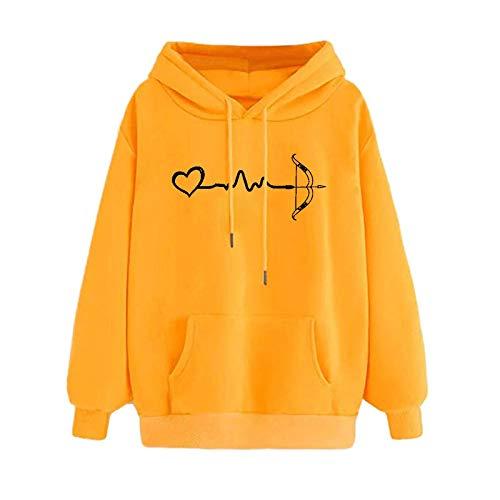 DAY8 Damen, bequem und atmungsaktiv Voller Kreativität Herbst Winter Hoodie Sweatshirt Pullover Tops Langarm Komfortabel