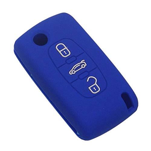 Happyit siliconen-autosleutel-cover voor Peugeot 107 207 307 407 308 607 Citroen C1 C2 C3 C4 C5 C6 C8 3 C8 3 knop blauw