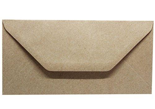50 Kraftpapierumschläge - Briefumschläge aus Kraftpapier ohne Fenster- Vintage - DIN Lang Kuvert - passend für DIN A4 breit - nassklebende Kuverts für Einladungskarten, Grußkarten, Weihnachtskarten