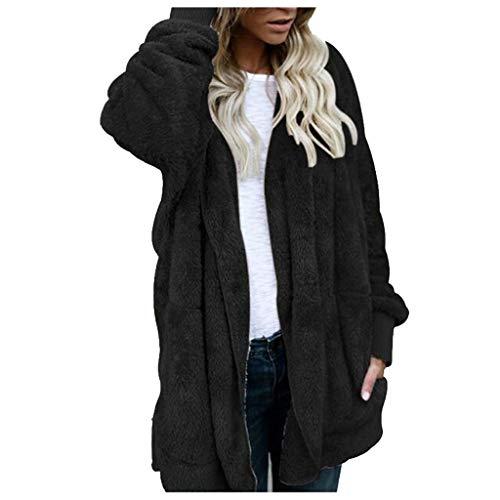 WHSHINE Frauen Wintermantel Warm Casual Mantel Langarm Revers Jacke Parka Outwear Damen Teddy Fleece Winterjacke Einfarbig Cardigan Strickjacke Fleecejacke(Schwarz,5XL)