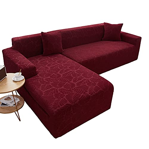 Fundas de Sofá en Forma de L, 2 Piezas Elástico Jacquard Funda para Sofà Seccional Antideslizante Lavable Chaise Lounge Protector de Muebles Esquina Sofá Fundas para Sala de Estar,Red,3+4 Seater