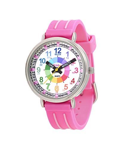 Orologi educativi KIDDUS per bambini, ragazze. Orologio da polso analogico con esercizi per imparare a leggere l'ora, movimento al quarzo giapponese, facilità di lettura dell'ora. KI10312 Lancetta…