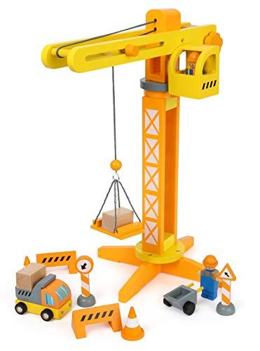 small foot 12007 - Gru in legno certificato FSC 100%, con accessori da cantiere, 13 pezzi, girevole a 360 gradi, per piccoli operatori edili giocattoli, multicolore