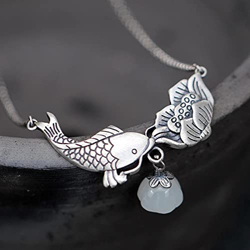 Hetian White Jade Koi Carp Lotus Pendant Necklace Chinese Style Retro Light Luxury Elegant Charm Women's Silver Jewelry
